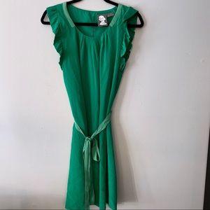 Anthro Girls from Savoy Flutter Sleeve Silk Dress